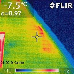 IR-Thermogramm 'Wärmeleck' unterhalb Ortgang